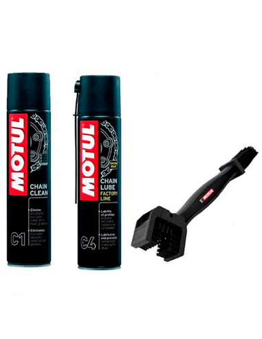 Pack Limpia Cadena y Engrase MOTUL MC Care + cepillo